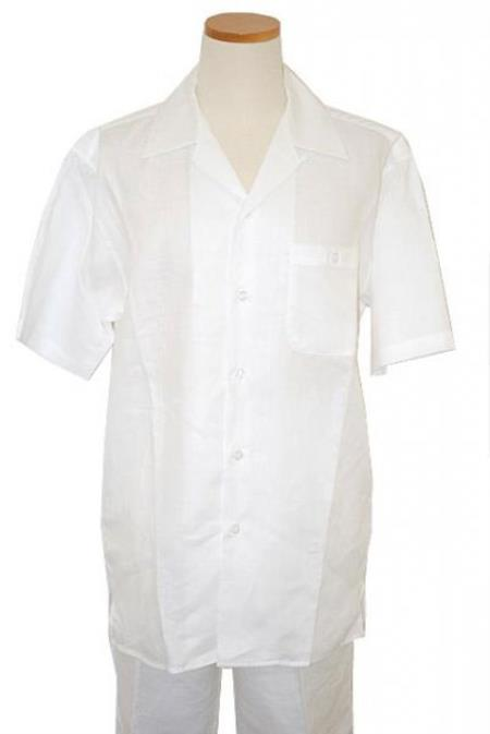 Mens White Five Buttons Summer Walking trendy casual Linen Suit, act now only $85.00