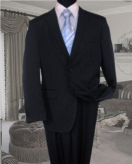 Mens White Pinstripe Conversative 2 Button Style Flat Front Suit, act now only $159.00