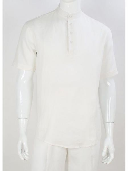 Mens White Safari Short Sleeve Casual No Collar Banded Mandarin Collar Linen Suit, act now only $120.00