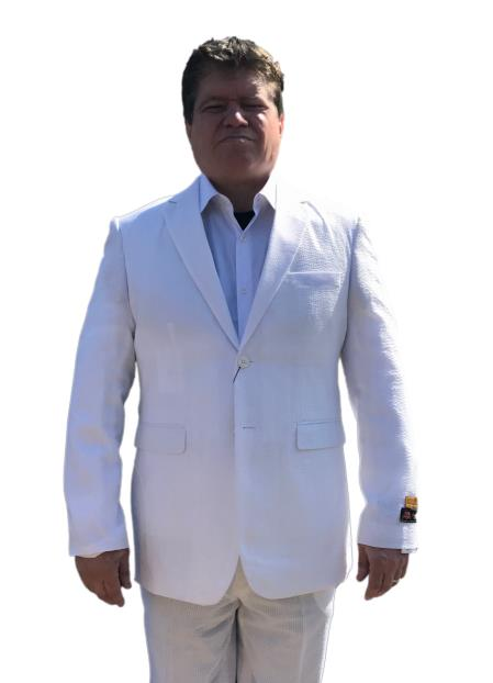 Mens White Seersucker Two Button Style Notch Lapel Linen Suit, act now only $199.00