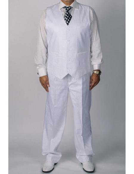 Mens White Silversilk coated Vest Linen Two Piece Set Suit, act now only $139.00