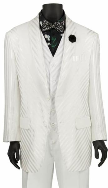 Mens White Single Breasted Two Button Shiny Stripe Suit, act now only $149.00