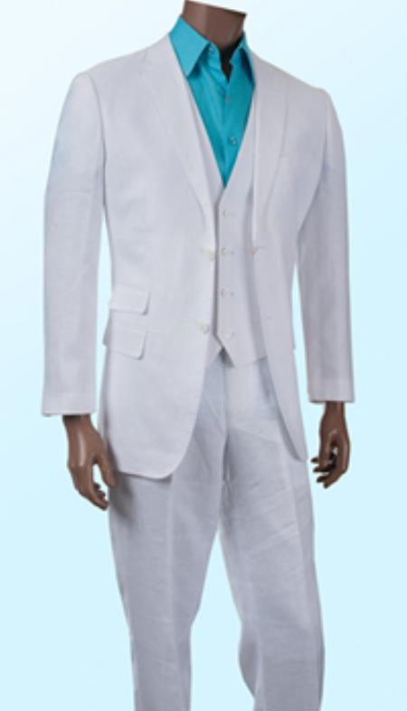 Mens White Summer Light Weight Online Sale Three Piece Linen Suit, act now only $325.00