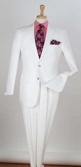 Mens White Two Button Single Breasted Notch Lapel Linen Suit, act now only $163.00