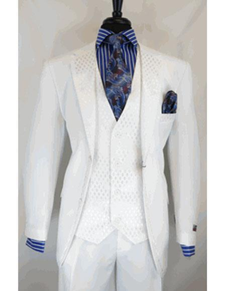 Mens White Two Button Single Breasted Notch Lapel Suit, act now only $199.00