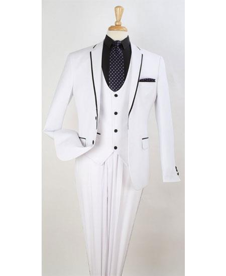 Mens White Two Button Style Trim Lapel Suit, act now only $199.00