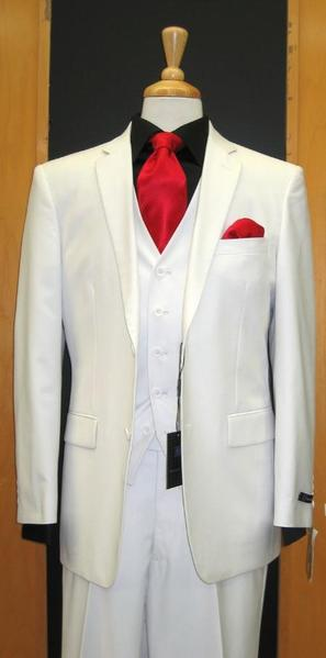 Mens White Two Button Three Piece Tapered Cut Flat Front Suit, act now only $165.00