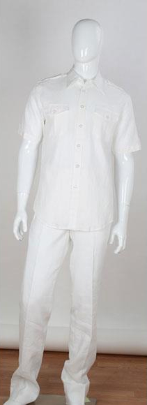 Mens White Two Piece Short Sleeve Accent Double Chest Pockets Linen Suit, act now only $100.00