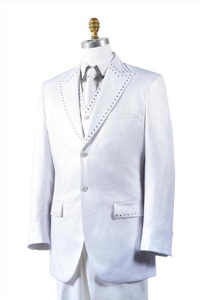 Mens White Unique 2 Button Style Tuxedo Trimmed Pleated Slacks Pants, act now only $175.00