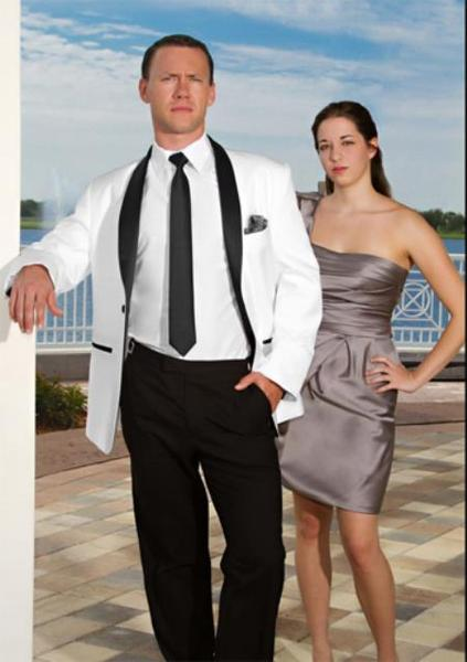 Mens White With Liquid Jet Black Lapel Shawl collar Tuxedo, act now only $239.00
