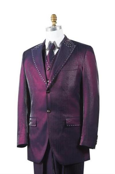 Mens wine Two Button Style Sharkskin Suit, act now only $175.00