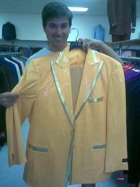 Mens Yellow-Gold Shiny Flashy Metallic Tuxedo Suit, act now only $225.00