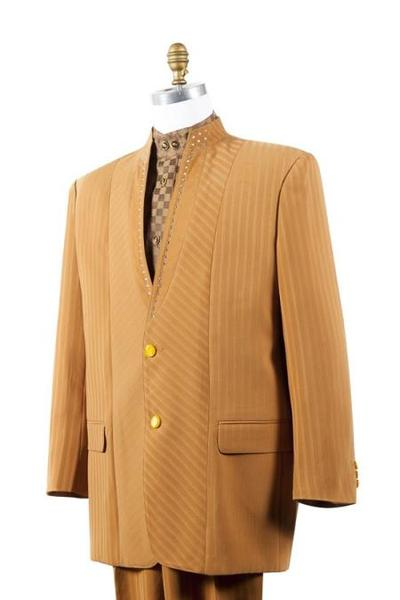 Mens yellow no collar mandarin Collar Rhine stone Fashion Suit, act now only $165.00
