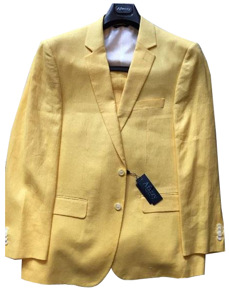 Mens Yellow Single Breasted Two Buttons Linen Modern Fit lined suit, act now only $189.00