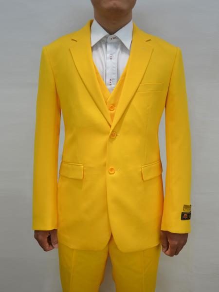 Mens Yellow Two Button Alberto Nardoni Suit, act now only $199.00