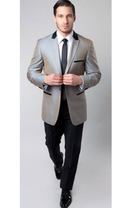One Button Silver narrow Style Trimmed Mens Tuxedo, act now only $175.00