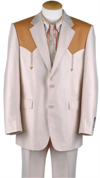 Mens traje vaquero Polyester Suit In Bone/Mango Ostrich, act now only $113.00